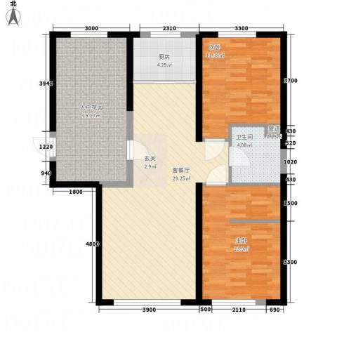 盛景红海河2室1厅1卫1厨112.00㎡户型图