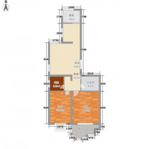 千禧・御东画卷3室1厅1卫1厨76.00㎡户型图