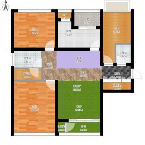 惠灵顿国际社区河庭花苑3室1厅2卫1厨116.00㎡户型图