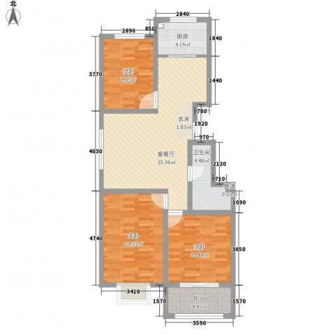 彩虹城3室1厅1卫1厨73.57㎡户型图