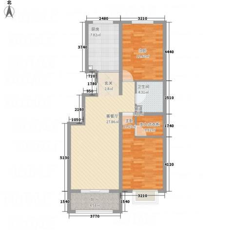 彩虹城2室1厅1卫1厨73.62㎡户型图