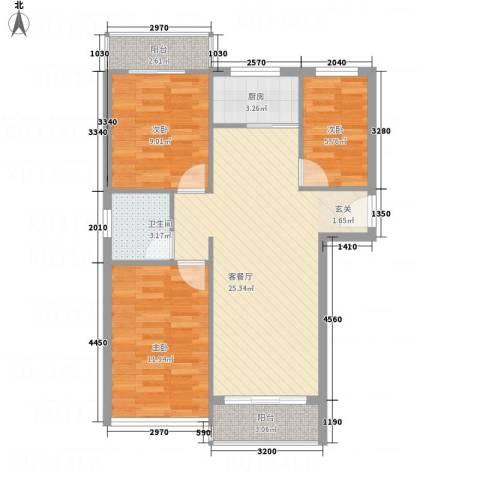 凤凰湖3室1厅1卫1厨90.00㎡户型图