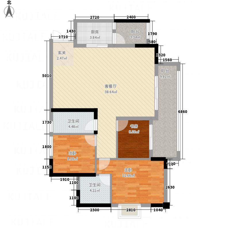 嘉阳・天宇45671112号楼1号户型3室2厅2卫1厨