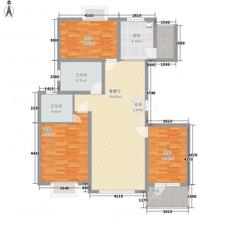 华林逸墅133.86㎡C户型3室2厅2卫1厨