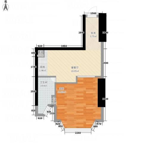 皇爵国际公馆1室1厅1卫0厨62.00㎡户型图