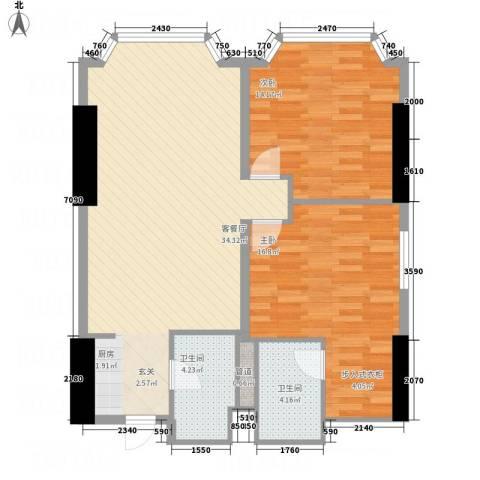 皇爵国际公馆2室1厅2卫0厨74.34㎡户型图