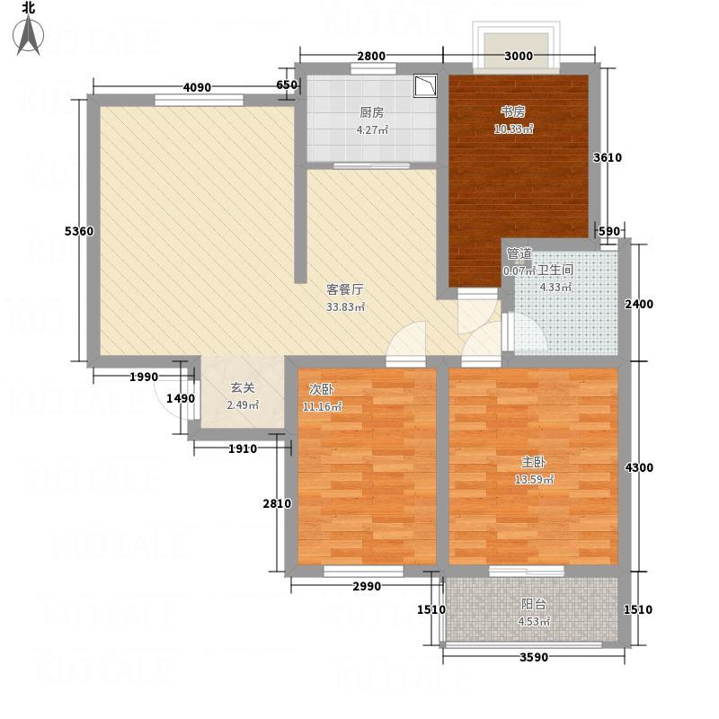 华林逸墅115.65㎡B2户型3室2厅1卫1厨