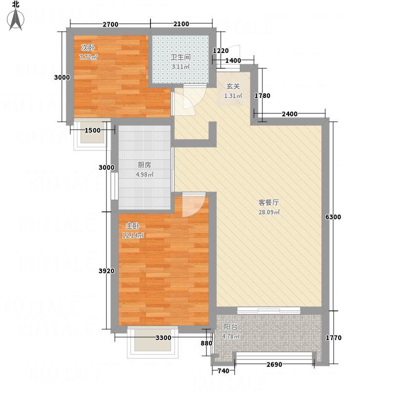 龙廷山水・东方�园84.52㎡e户型2室2厅1卫