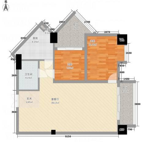 金鹿花园2室1厅1卫1厨110.00㎡户型图