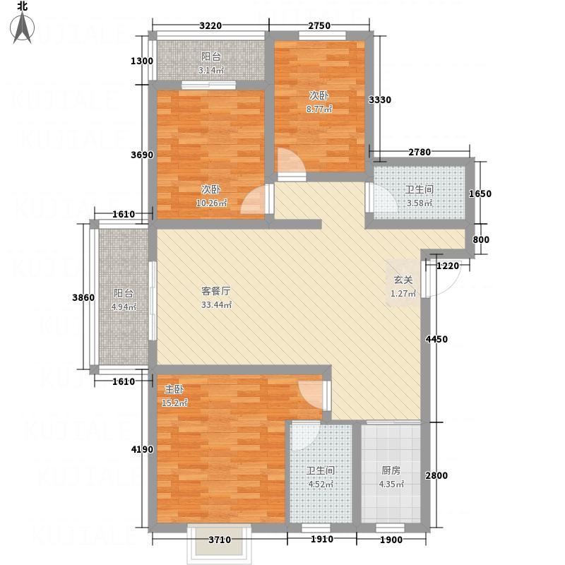 蓝湾国际社区127.46㎡L户型3室2厅2卫1厨