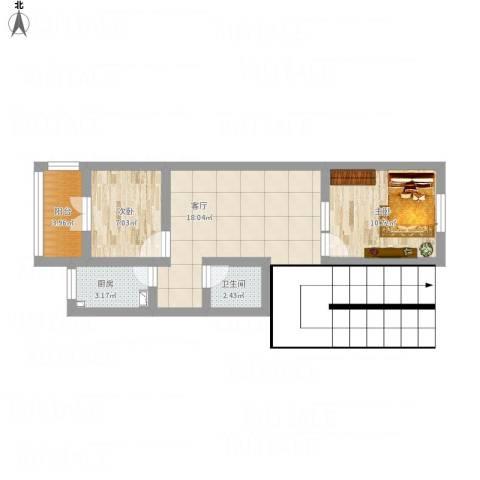 建欣苑三里2室1厅1卫1厨70.00㎡户型图