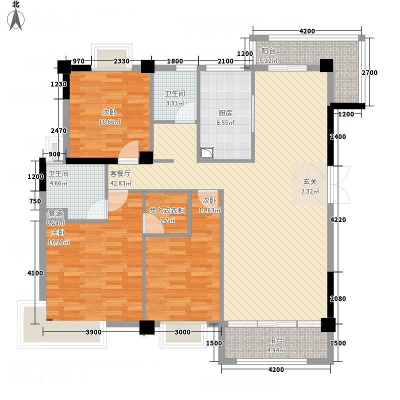 阳光花园昕苑132.81㎡A1户型3室2厅2卫1厨