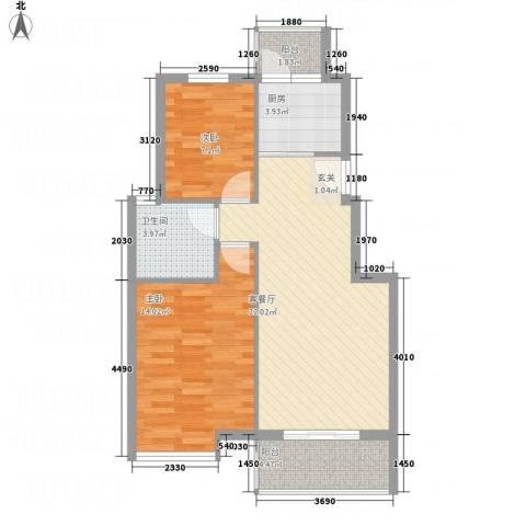 凤凰湖2室1厅1卫1厨76.00㎡户型图