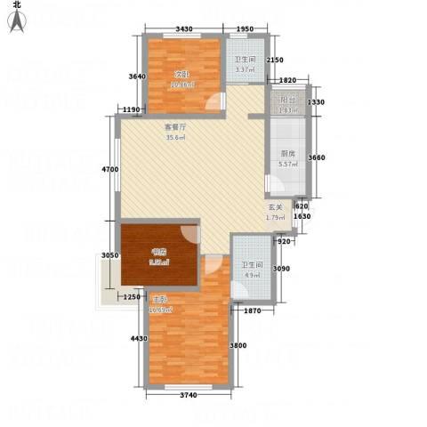 牡丹城3室1厅2卫1厨126.00㎡户型图