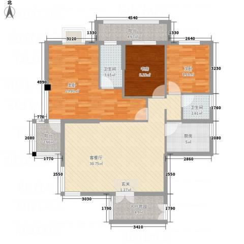 北湖星城五期3室1厅2卫1厨129.00㎡户型图