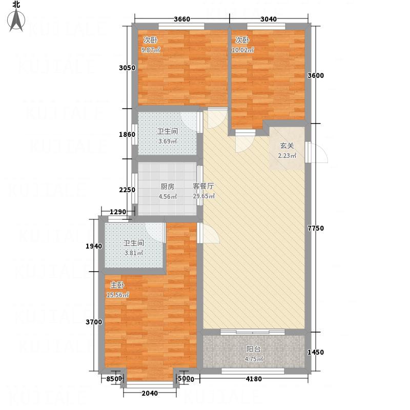 桦林・万豪公馆117.60㎡D1-2户型3室2厅2卫1厨