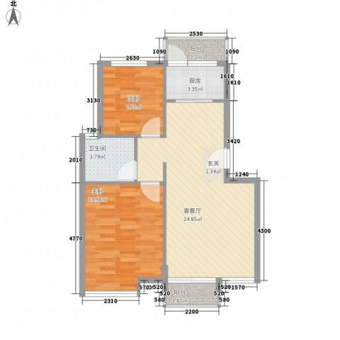 凤凰湖2室1厅1卫1厨73.00㎡户型图