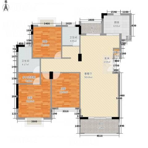 富新・国际豪城3室1厅2卫1厨145.00㎡户型图