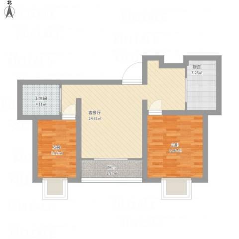 华侨城2室1厅1卫1厨88.00㎡户型图