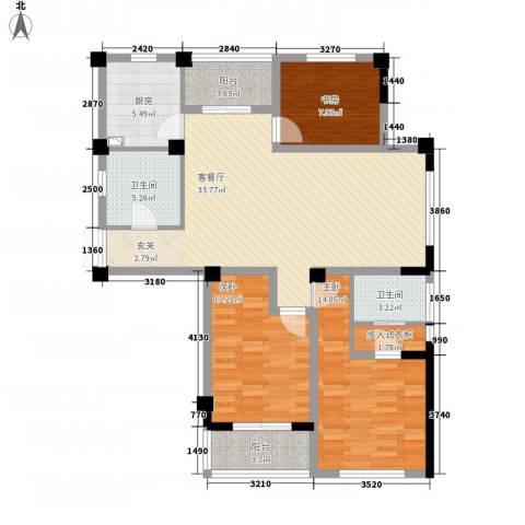 书香府第3室1厅2卫1厨132.00㎡户型图