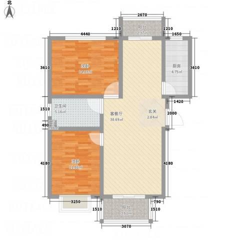 彩虹城2室1厅1卫1厨72.63㎡户型图