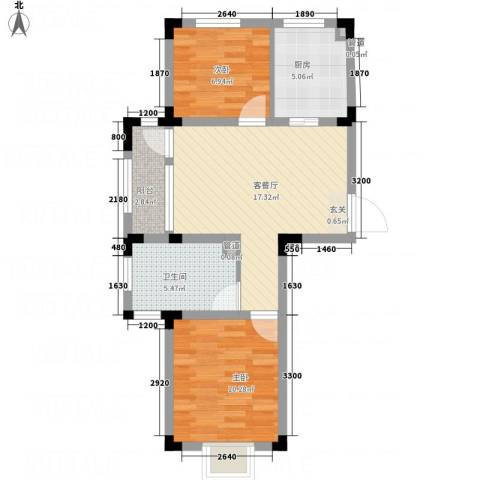 信达-泉天下2室1厅1卫1厨127.00㎡户型图