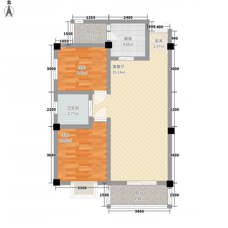 米兰阳光85.74㎡B1-2户型2室2厅1卫