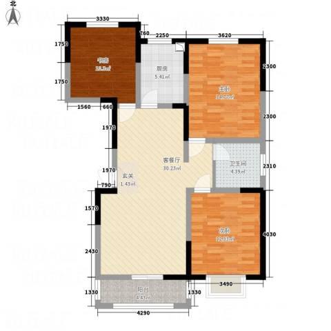 锦荣御景龙湾3室1厅1卫1厨118.00㎡户型图