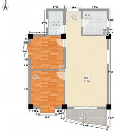 华腾碧水映象2室1厅1卫1厨89.00㎡户型图