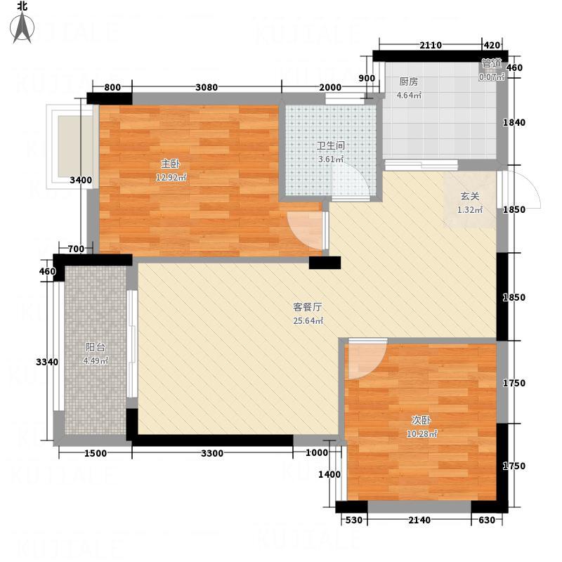 柏林苑82.42㎡1024-(2)户型2室2厅1卫1厨