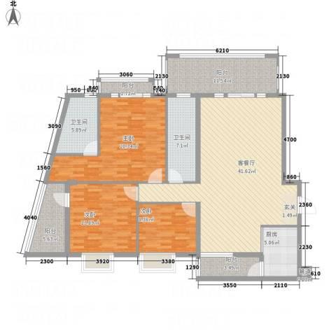 蟠龙山水豪庭3室1厅2卫1厨176.00㎡户型图