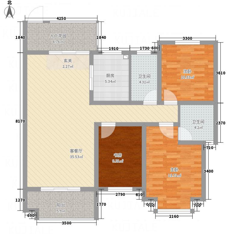 红格涪岸113.14㎡1-B户型2室2厅2卫1厨