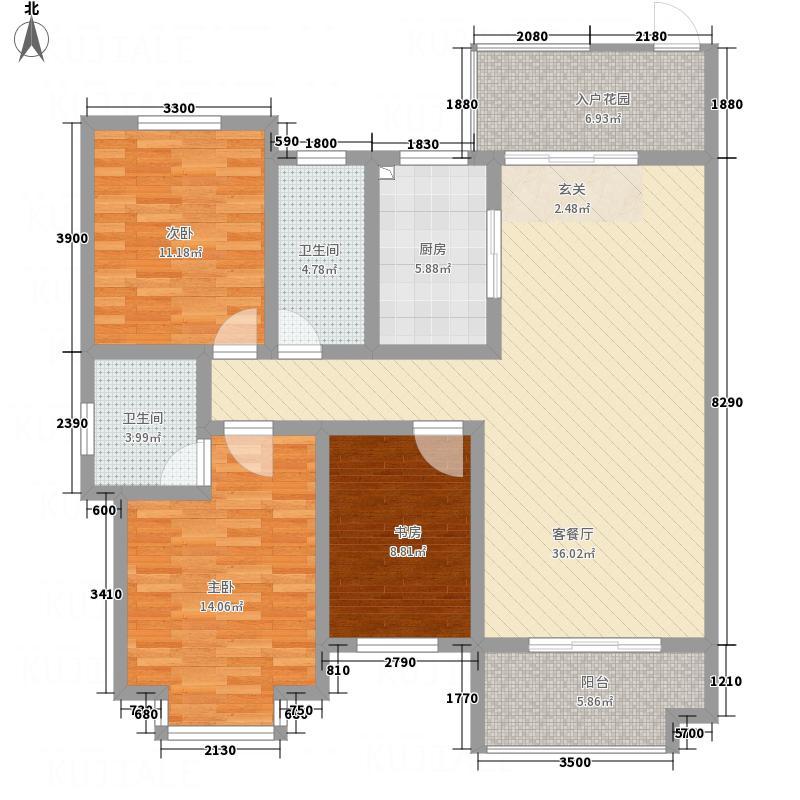 红格涪岸114.50㎡4-A户型3室2厅2卫1厨