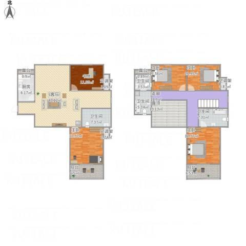 环宇国际广场5室1厅4卫1厨264.00㎡户型图