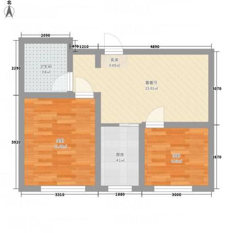 金湖水岸2室1厅1卫1厨60.00㎡户型图