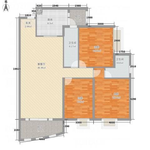 蟠龙山水豪庭3室1厅2卫1厨167.00㎡户型图