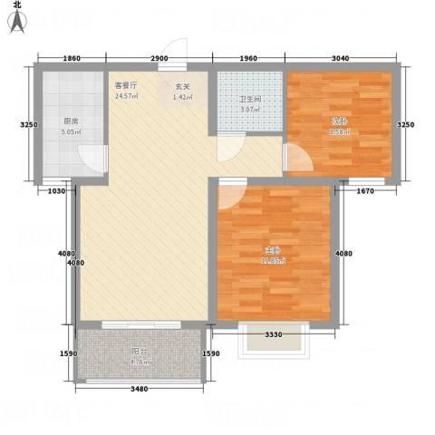全都城2室1厅1卫1厨83.00㎡户型图