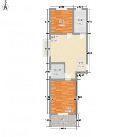 全都城2室1厅1卫1厨79.00㎡户型图