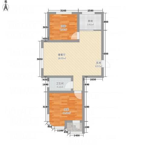 金湖水岸2室1厅1卫1厨79.00㎡户型图