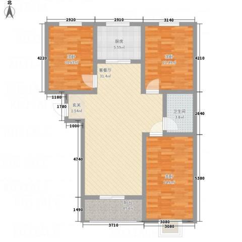 全都城3室1厅1卫1厨118.00㎡户型图
