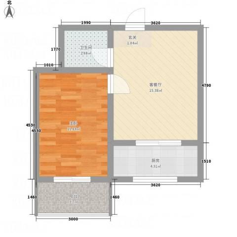 全都城1室1厅1卫1厨55.00㎡户型图