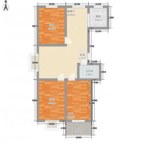 全都城3室1厅1卫1厨70.16㎡户型图