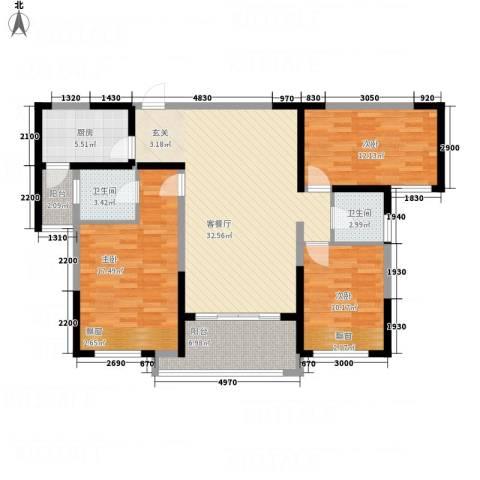 中国铁建领秀城3室1厅2卫1厨107.03㎡户型图