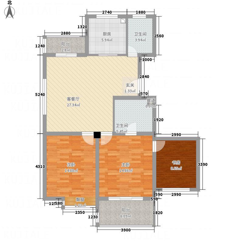 名门嘉苑3116.52㎡户型3室2厅2卫1厨