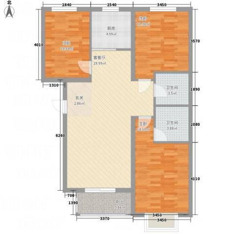 全都城3室1厅2卫1厨116.00㎡户型图