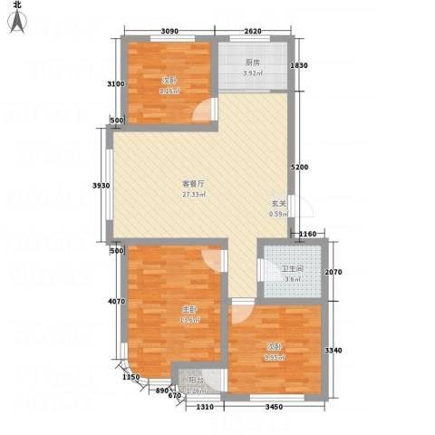 金湖水岸3室1厅1卫1厨98.00㎡户型图