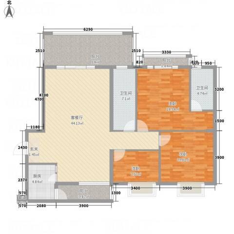 蟠龙山水豪庭3室1厅2卫1厨169.00㎡户型图