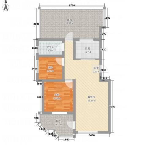 金湖水岸2室1厅1卫1厨102.00㎡户型图