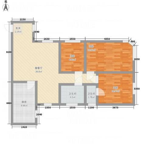 华富广场3室1厅2卫1厨112.00㎡户型图