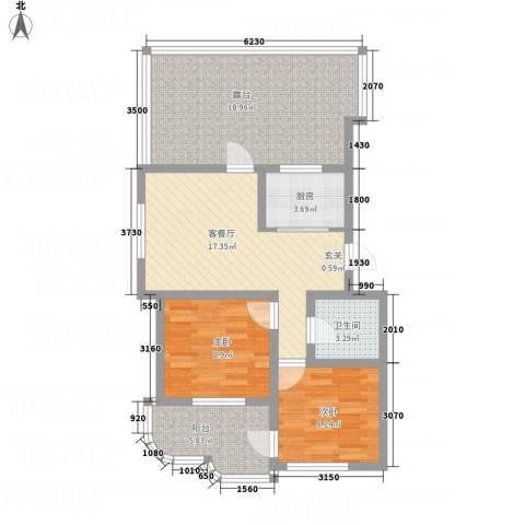 金湖水岸2室1厅1卫1厨96.00㎡户型图